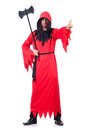 Executioner in red costume with axe on white Stock Photos