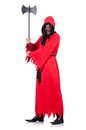 Executioner in red costume with axe on white Royalty Free Stock Photos