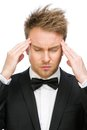 Executive with closed eyes putting hands on head portrait of business man isolated white concept of headache and high temperature Royalty Free Stock Images