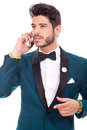 Executive man talking on the phone young Stock Images