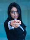Executive woman making the gesture of dismissal of an employee Royalty Free Stock Images