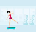 Exercise on aerobic step Stock Images