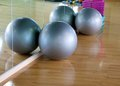 Exercise balls modern in upscale gym Stock Photos