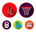 Exercise bike with a counter, fins for swimming, a weight, a basketball basket. Sport set collection icons in flat style Royalty Free Stock Photo