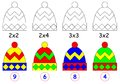 Exercise for children with multiplication paint each cap in relevant color vector image developing skills counting and scale to Stock Photo