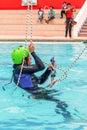Exercise climbing rescue training rescue people recovery using rope techniques tungurahua banos de aqua santa ecuador may Stock Images