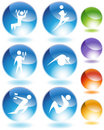 Exercise Crystal Icon Set Stock Photography