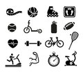 Exercise and fitness icons set of for web or print Royalty Free Stock Photos