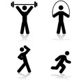 Exercise icons icon set showing a person doing different types of Stock Images