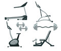 Exercise machine. Gym equipment exercise machines Sports Equipment Royalty Free Stock Photo
