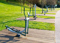 Exercise machines in a public park Stock Photos