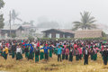 Exercise in the morning nyaung shwe in myanmar burmar group of student is exercising Stock Photography