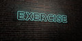 EXERCISE -Realistic Neon Sign on Brick Wall background - 3D rendered royalty free stock image Royalty Free Stock Photo