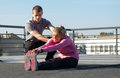 Exercise on the roof Stock Photos