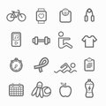 Exercise symbol line icon set on white background vector illustration Stock Photo