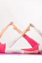 Exercise women legs during yoga studio shot Royalty Free Stock Images