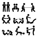Exercise workout with a partner icons set of human pictogram representing exercising and Royalty Free Stock Images