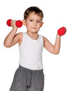 Exercises with dumbbells Stock Photo