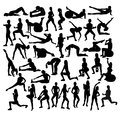 Exercises Fitness and Gym Sport Silhouettes