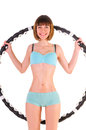 Exercises with hula hoop Stock Photo