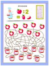 Exercises for kids with division table by number 2. Solve examples and write answers on apples.