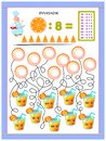 Exercises for kids with division table by number 8. Solve examples and write answers on bubbles.