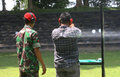 Exercises using firearms members of the army s special forces give a lesson how to use to journalists in sukoharjo indonesia Royalty Free Stock Photo