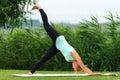Exercising downward facing yoga pose