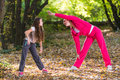 Exercising in a forest Royalty Free Stock Photo