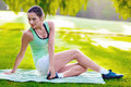 Exercising woman pretty outdoor one morning Stock Photos