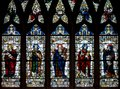Stained Glass in Exeter Cathedral, Nave South Window D, Depicting Samuel, David, Moses, Nehemiah and Amos