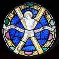 Stained Glass in Exeter Cathedral, St Andrews Chapel Window, Christ Walking on the Water Tracery Light A Royalty Free Stock Photo