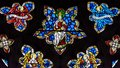 Stained Glass in Exeter Cathedral, West Window Tracery Light, Je Royalty Free Stock Photo
