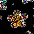 Stained Glass in Exeter Cathedral, West Window Tracery Light Clo Royalty Free Stock Photo