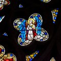 Stained Glass in Exeter Cathedral, West Window Tracery Light Close up G Royalty Free Stock Photo