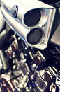 Exhaust of a 1600cc speed motor bike Royalty Free Stock Image