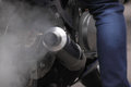 Exhaust of motorcycle clode up Stock Photos