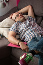 Exhausted dad napping Royalty Free Stock Photo