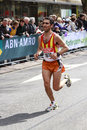 Exhausted rotterdam the netherlands – april runner ferran rey roncero crossing the line in the th edition of the abn amro Royalty Free Stock Photography