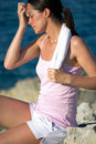 exhausted woman after exercise Royalty Free Stock Photo