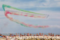 Exhibition of Italian aerobatic team Frecce Tricolori in Versilia Marina di Massa Royalty Free Stock Photo