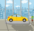 Exhibition Pavilion with yellow car,