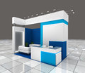 Exhibition stand design small with blank banners and lighting Royalty Free Stock Image