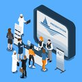 Exhibition Stand Isometric Composition Royalty Free Stock Photo
