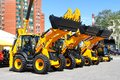 Exhibition ufa russia may line of jcb machinery at the annual international gas oil technologies on may in ufa bashkortostan Royalty Free Stock Photos