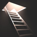 Exit in the ceiling with light and ladder Stock Photography