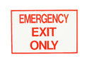 Exit sign closeup on white background Royalty Free Stock Photo