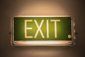 Exit sign or exit light board on the top of the door for identify safety way when find emergency case, safety device for identify Royalty Free Stock Photo