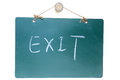 Exit sign on green board Royalty Free Stock Images