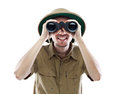 Exited explorer looking through binoculars Stock Image